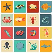 pic of stingray  - Seafood icons flat set with seahorse eel stingray sushi isolated vector illustration - JPG