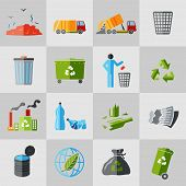 pic of dumpster  - Garbage recycling icons flat set of dumpster basket waste isolated vector illustration - JPG