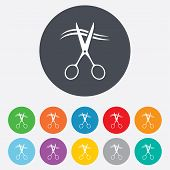 image of barbershop  - Scissors cut hair sign icon - JPG