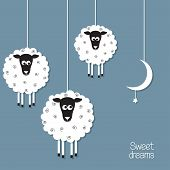 foto of counting sheep  - Cute sheep and moon in paper cut out style - JPG