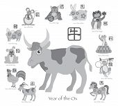stock photo of rabbit year  - Chinese New Year of the Ox with Twelve Zodiacs with Chinese Symbol for Rat Ox Tiger Dragon Rabbit Snake Monkey Horse Goat Rooster Dog Pig Text in Circle Grayscale Vector Illustration - JPG