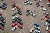 stock photo of parking lot  - Cars parked in parking lot - JPG