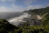 stock photo of hecate  - The beacon of the Heceta Head lighthouse seen from a distance along the Oregon coast