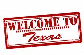 image of texas star  - Rubber stamps with text welcome to Texas inside vector illustration - JPG