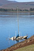 image of natal  - Sunken aboandoned yacht in the shallows of Midmar dam in the Natal Midlands in South Africa - JPG