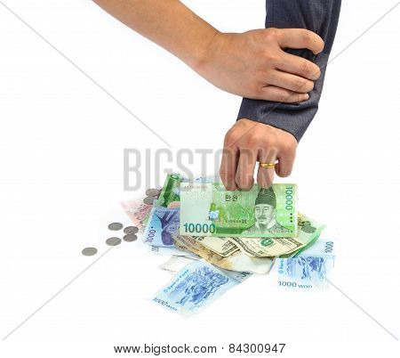 Man Hand Picking Bank Note Stop By Another Hand