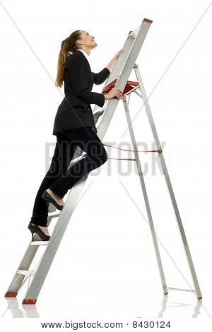 young businesswoman climbing a ladder