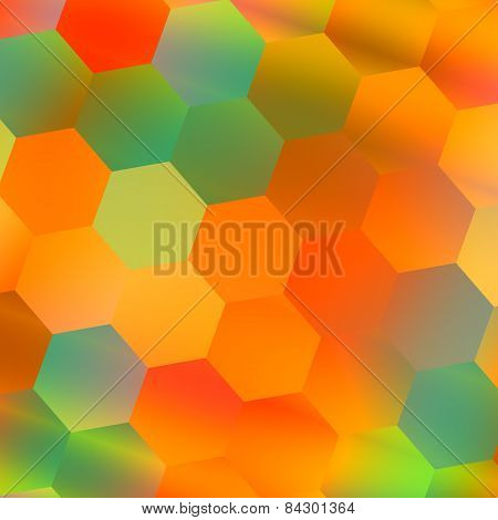 Colorful hexagonal background. Abstract geometric pattern. Orange blue colors. Backdrop for phone.