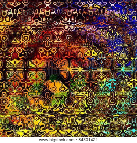 Psychedelic colorful art background. Abstract decorative grunge. Weird fractal shapes. Fantasy.