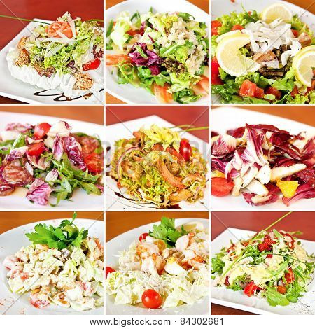 Various Salads Collage