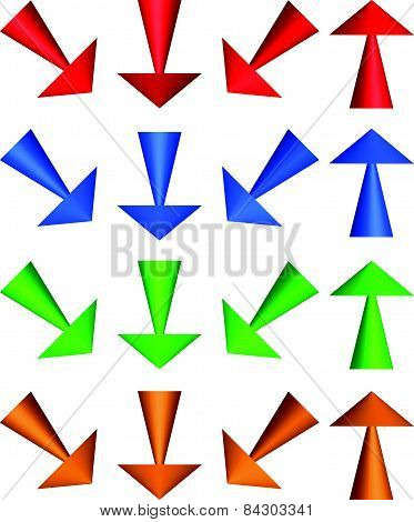 Illustration Of 3D Arrows. Up, Down And Diagonal Directions.