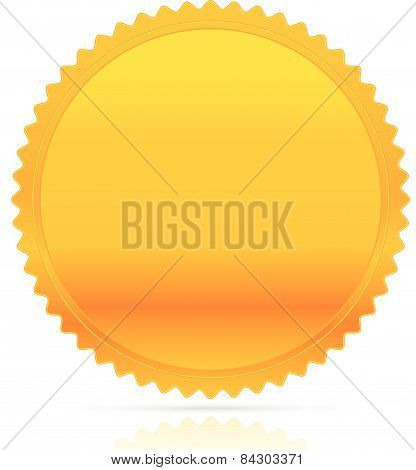 Illustration Of Gold Starburst Shape. Award, Honor, Badge, Medal, Medallion Vector W/ Empty Space.