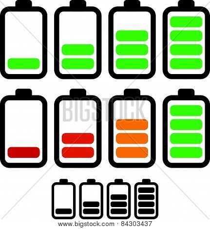 Illustration Of Battery Level Indicators. Battery Life, Accumulator, Battery Running Low, Battery Re
