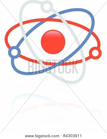 Molecule, Molecular Structure Icon, Symbol. Nucleus With Orbitting Electrons.
