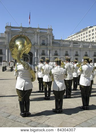 Ceremonial Changing Of The Guard At Palacio De La Moneda