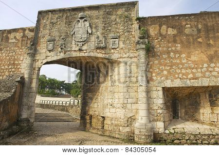 Exterior of the gate to the Ozama fortress in Santo Domingo, Dominican Republic