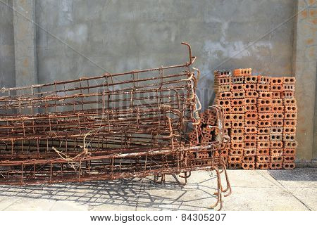 Steel Rods Used To Reinforce Concrete And Brick Construction