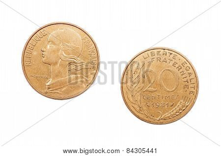 Twenty Centimes coin from France dated 1981
