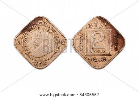 Two Annas coin from India dated 1918