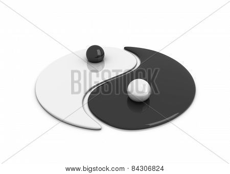 illustration of yin and yang sign, 3d render