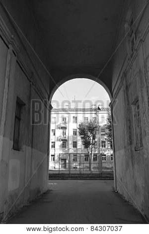 Old Arch In Kronstadt At Black And White Color