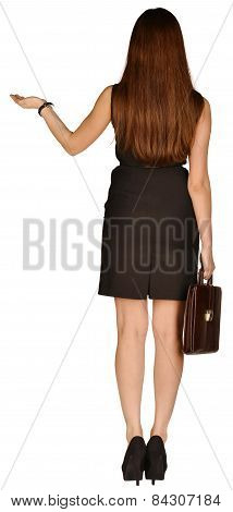 business woman holding a briefcase in his hand. standing back ago raising hand up