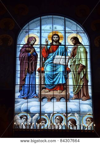 St Petersburg, Russia - September 28, 2014: Stained-glass Window Of The Cathedral Of The Sea Nikolso