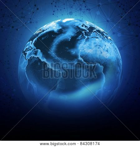 Blue earth globe with continents, transparent