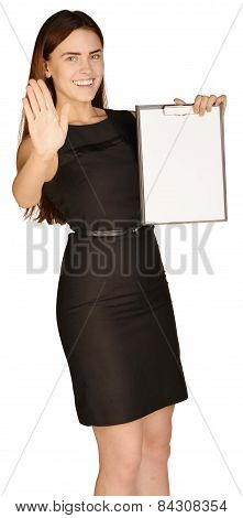 Business woman holding a paper holder. A second hand shows the stop