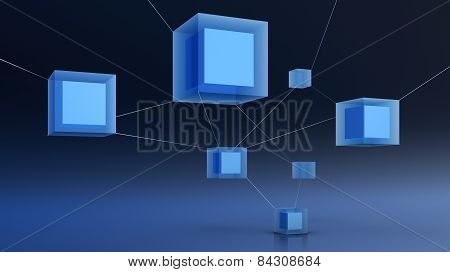 render of abstract cubes, illustration of 3d network