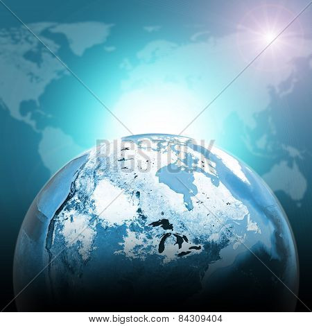 Green half earth globe with continents, transparent. World map on dark background