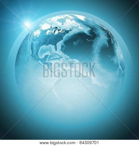 Green earth globe with continents, transparent