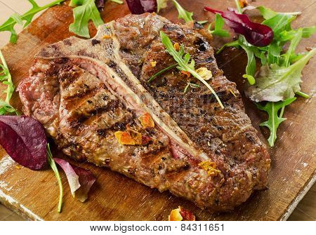 Grilled Bbq T-bone Steak With Fresh Herbs