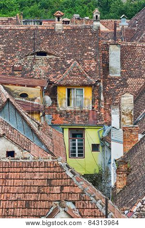 Old rooftops in Sighisoara, Romania.