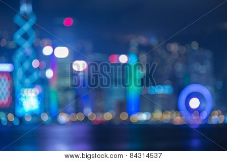 Blurred Photo bokeh, Hongkong Skyline at Night