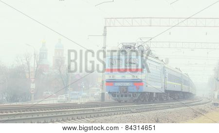 Train in foggy