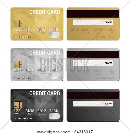 Vector credit cards, front and back view