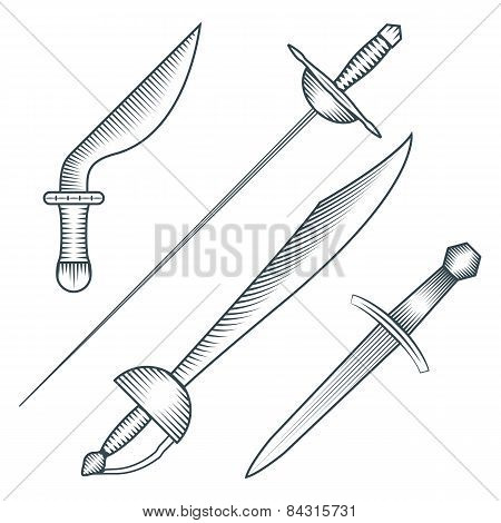 medieval pirate sword dagger dirk engraving style illustration