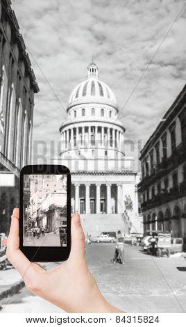 Tourist Taking Photo Of El Capitolio, Havana