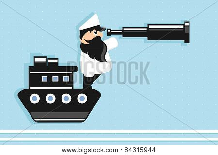 sea captain cartoon character holding spyglass