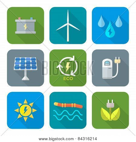 color flat style recycle ecology energy icons