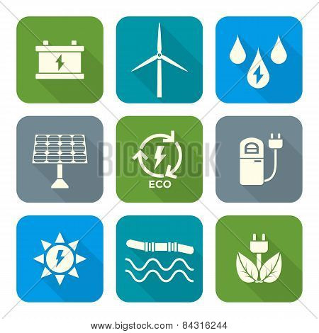 white color flat style recycle ecology energy icons