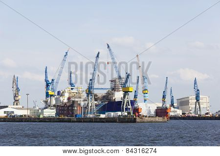 Shipyard In Hamburg, Germany