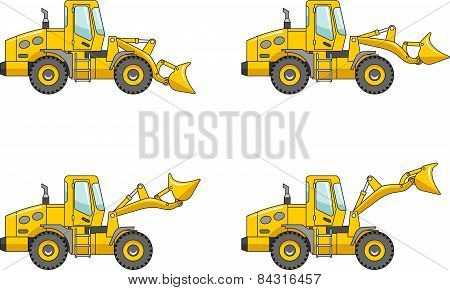 Wheel Loaders. Heavy Construction Machine. Vector Illustration