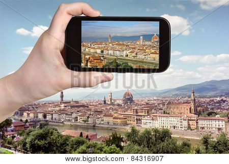 Tourist Taking Photo Of Florence Skyline