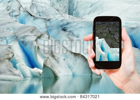 Melting Snow In Briksdal Glacier In Norway