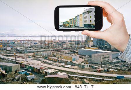 Tourist Taking Photo Of Anadyr Town Skyline