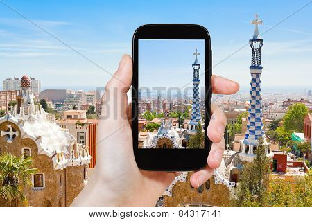 Tourist Taking Photo Of Barcelona Landscape