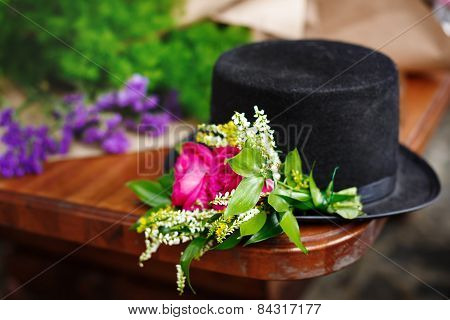 Black Hat With Flower Decoration