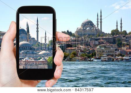Tourist Taking Photo Of Istanbul Skyline